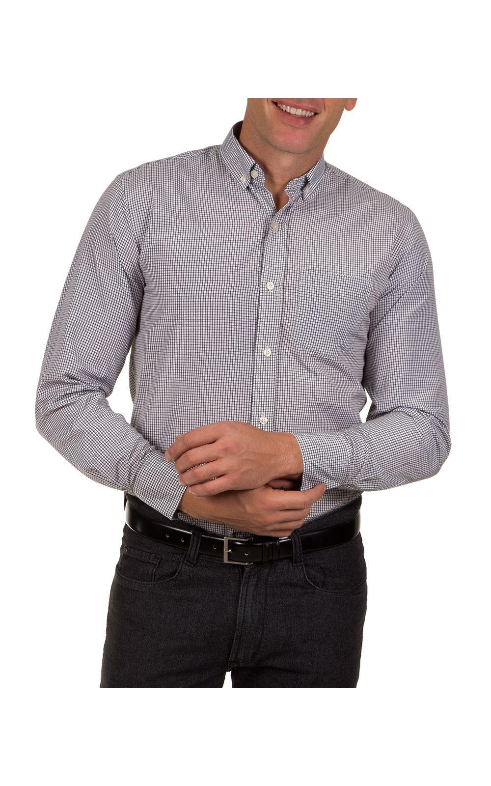 Foto 1 - Camisa Social Masculina Preto Xadrez