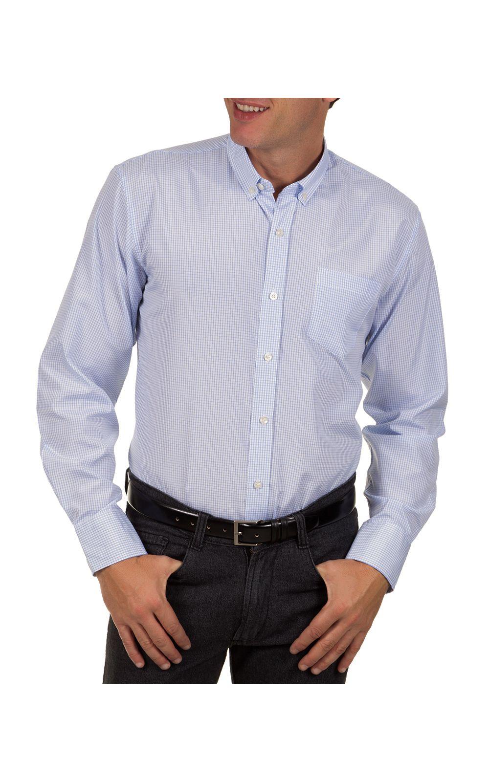 Foto 1 - Camisa Social Masculina Azul Claro Xadrez