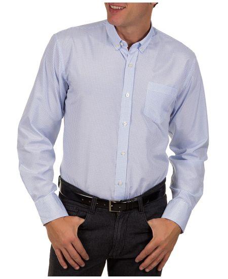 Camisa-Social-Masculina-Azul-Claro-Xadrez