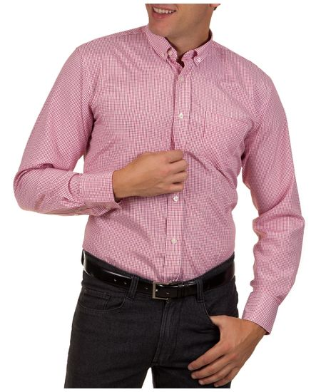 Camisa-Social-Masculina-Vermelha-Xadrez