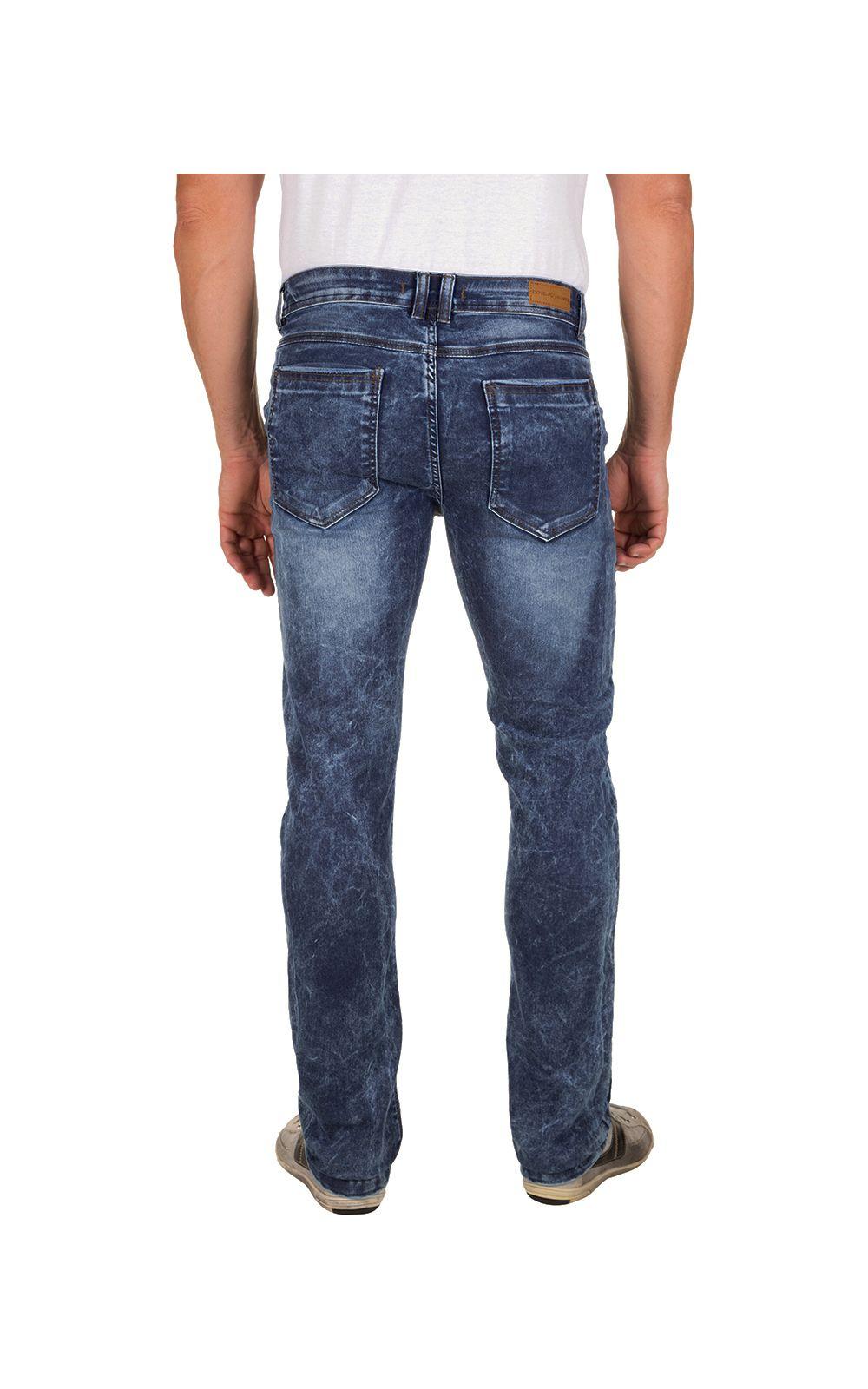Foto 2 - Calça Jeans Masculina Azul Escuro Texturizada