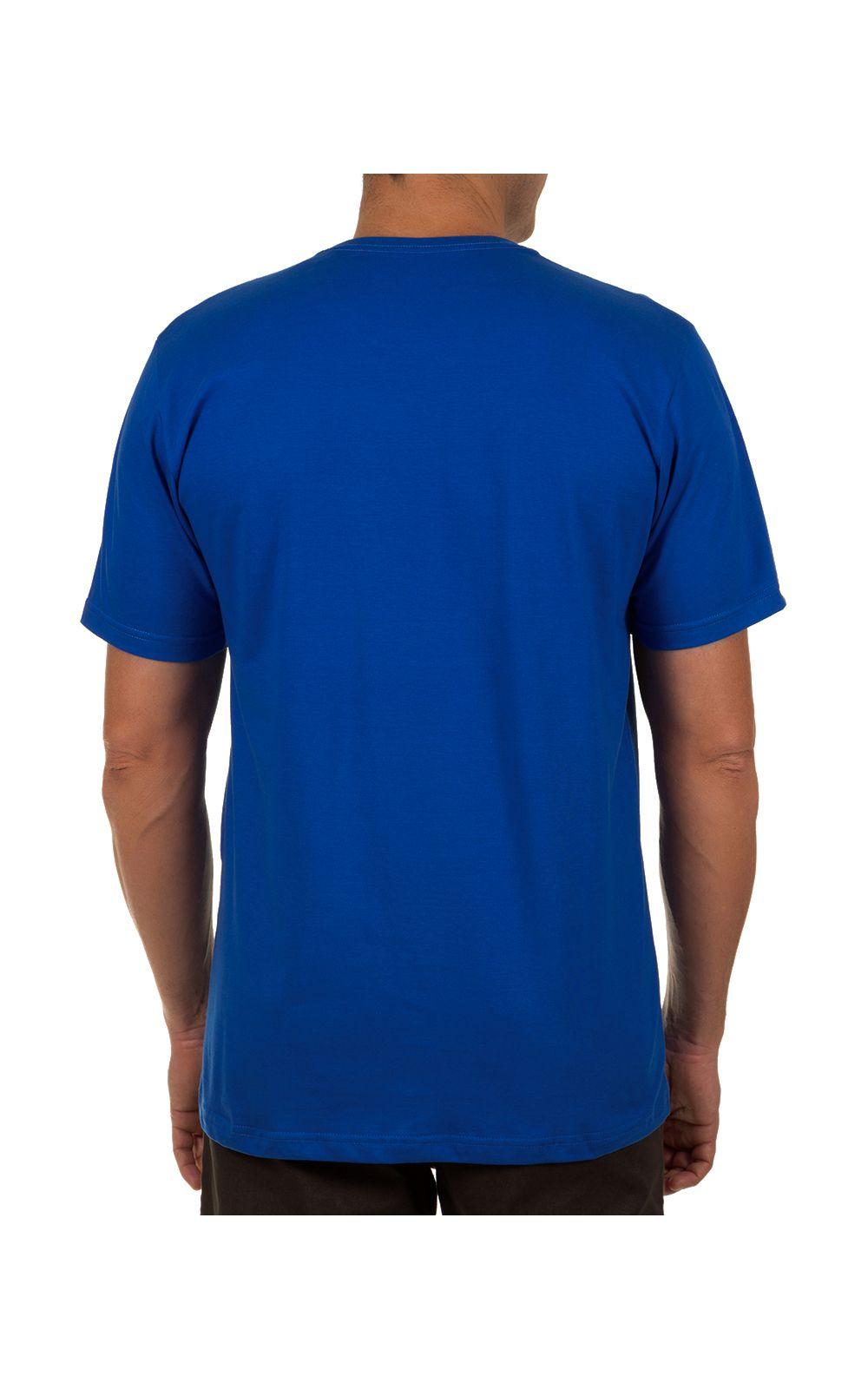 Foto 2 - Camiseta Masculina Azul Escuro Lisa