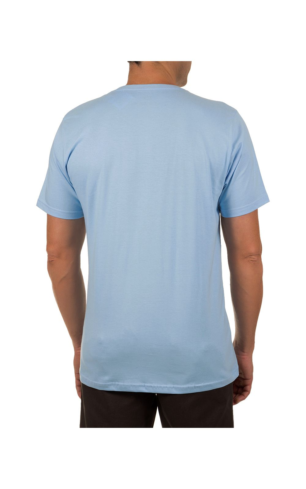 Foto 2 - Camiseta Masculina Azul Claro Lisa