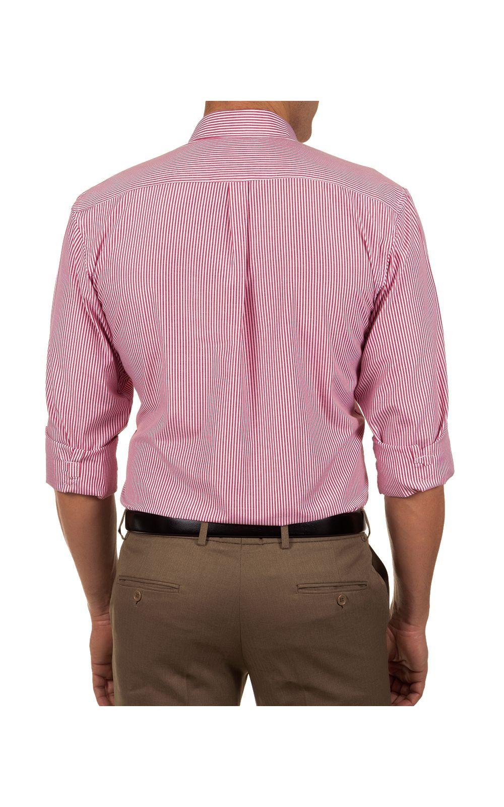 Foto 2 - Camisa Social Masculina Vermelho Listrada