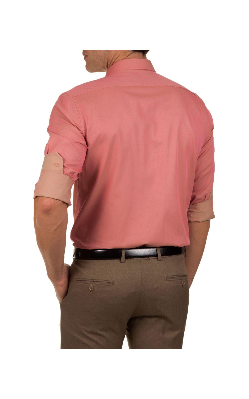 Foto 2 - Camisa Social Masculina Vermelho Lisa