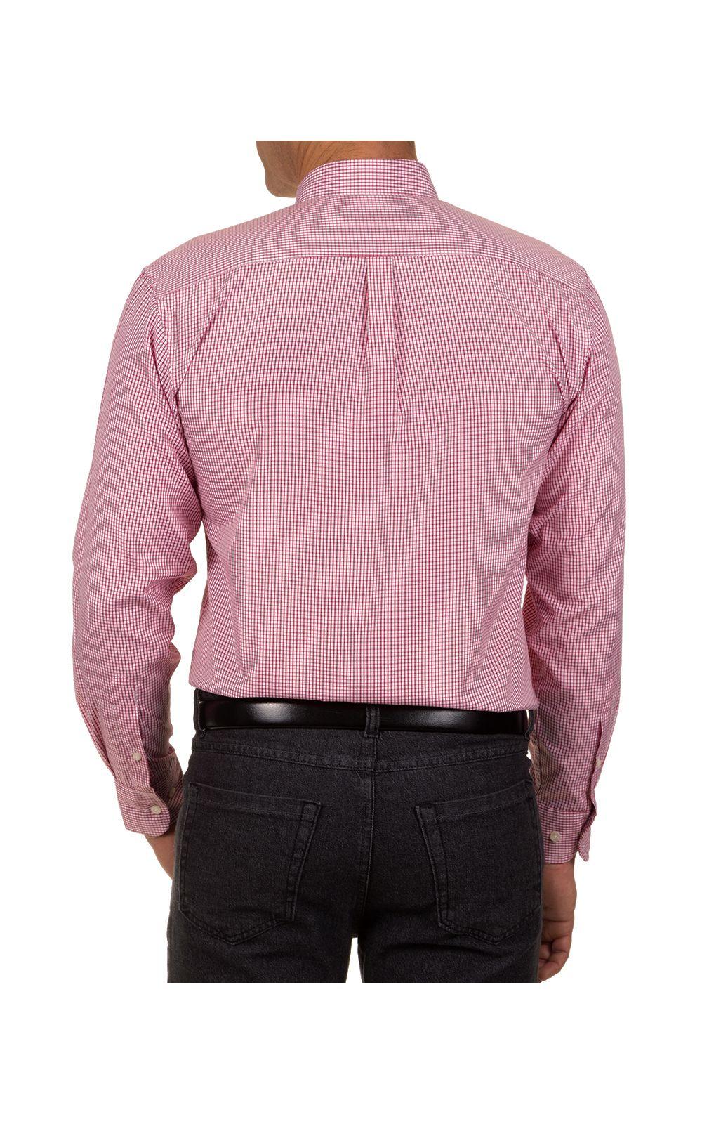 Foto 2 - Camisa Social Masculina Vermelha Xadrez