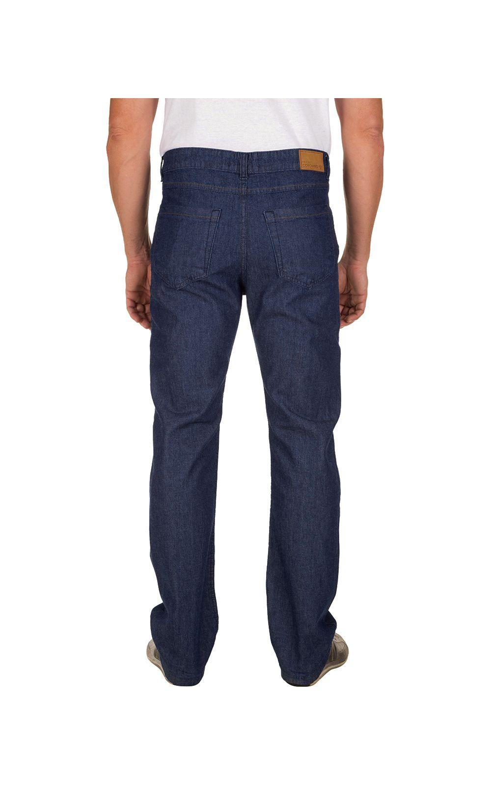 Foto 2 - Calça Jeans Masculina Azul Escuro Lisa