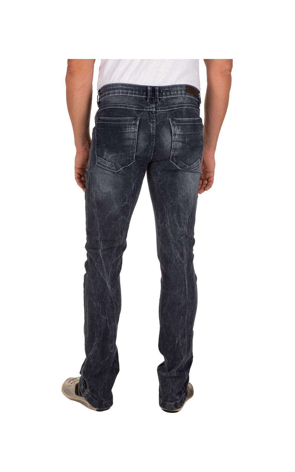Foto 2 - Calça Jeans Masculina Preta Texturizada