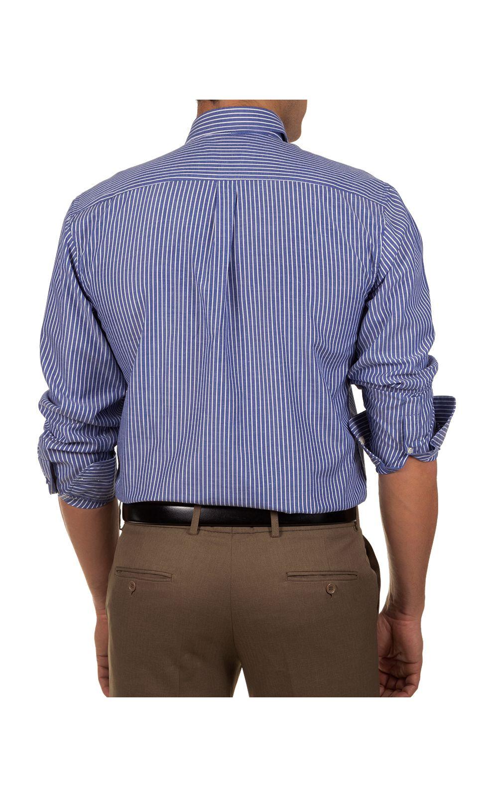 Foto 2 - Camisa Social Masculina Azul Escuro Listrada