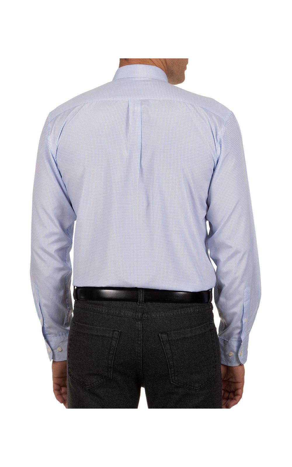 Foto 2 - Camisa Social Masculina Azul Claro Xadrez