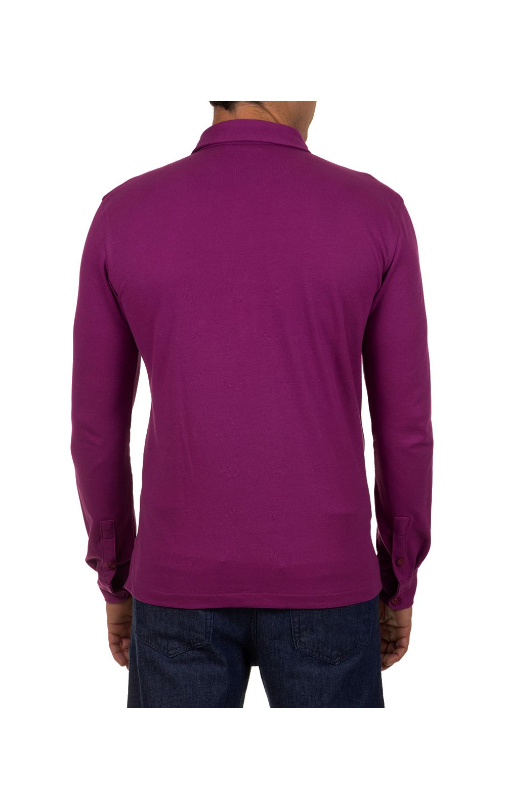 Foto 2 - Camisa Polo Masculina Roxo Lisa