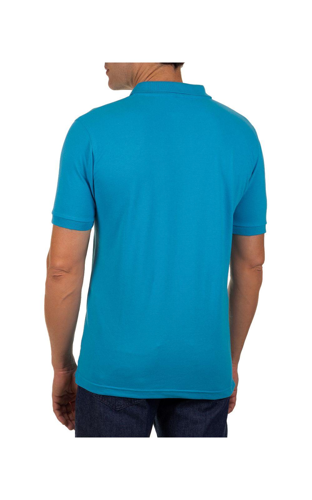 Foto 2 - Camisa Polo Masculina Azul Claro Lisa