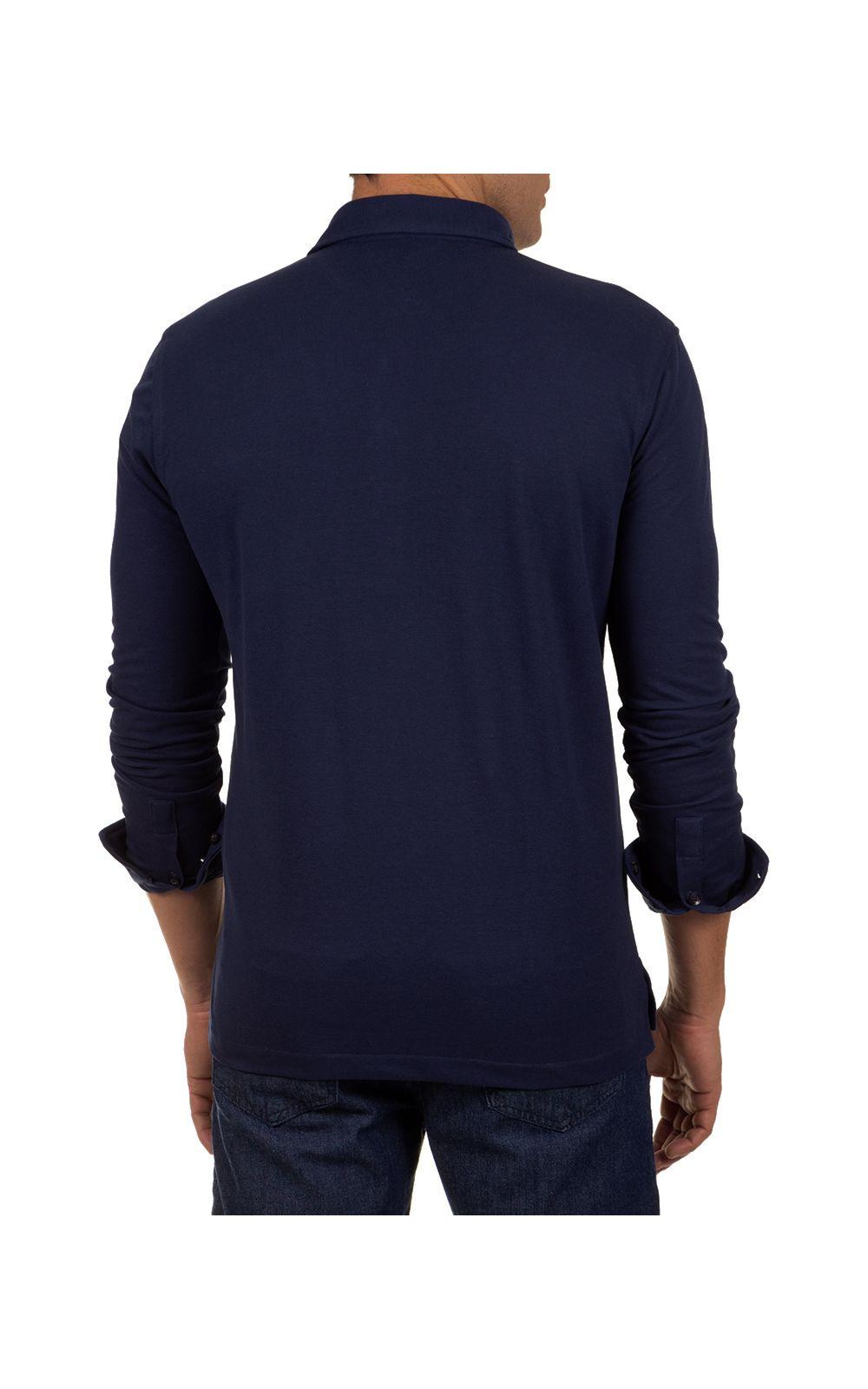 Foto 2 - Camisa Polo Masculina Azul Escuro Lisa