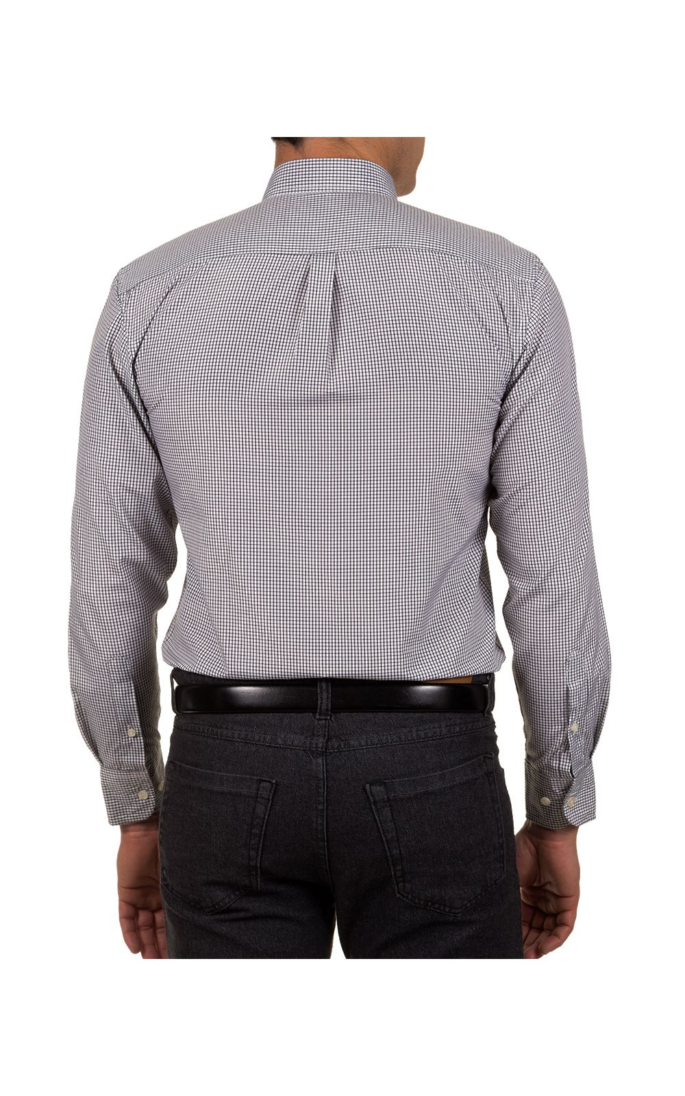 Foto 2 - Camisa Social Masculina Preto Xadrez