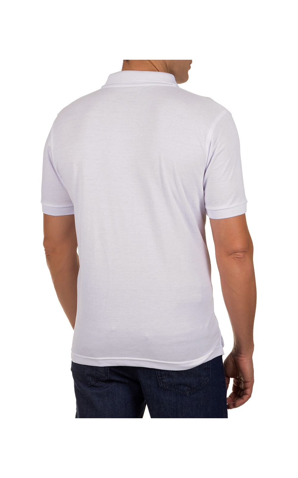 Foto 2 - Camisa Polo Masculina Branca Lisa