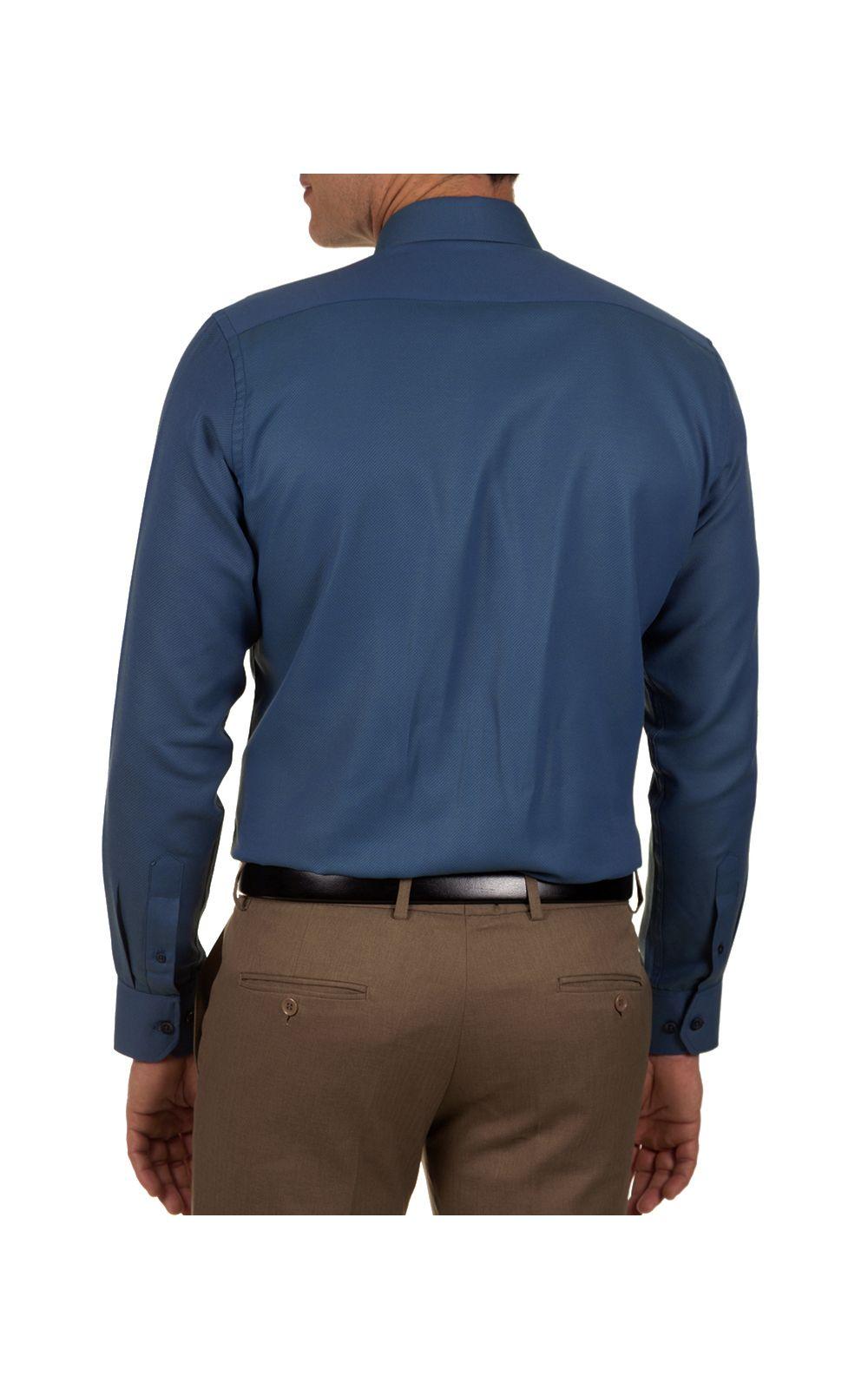 Foto 2 - Camisa Social Masculina Azul Escuro Lisa