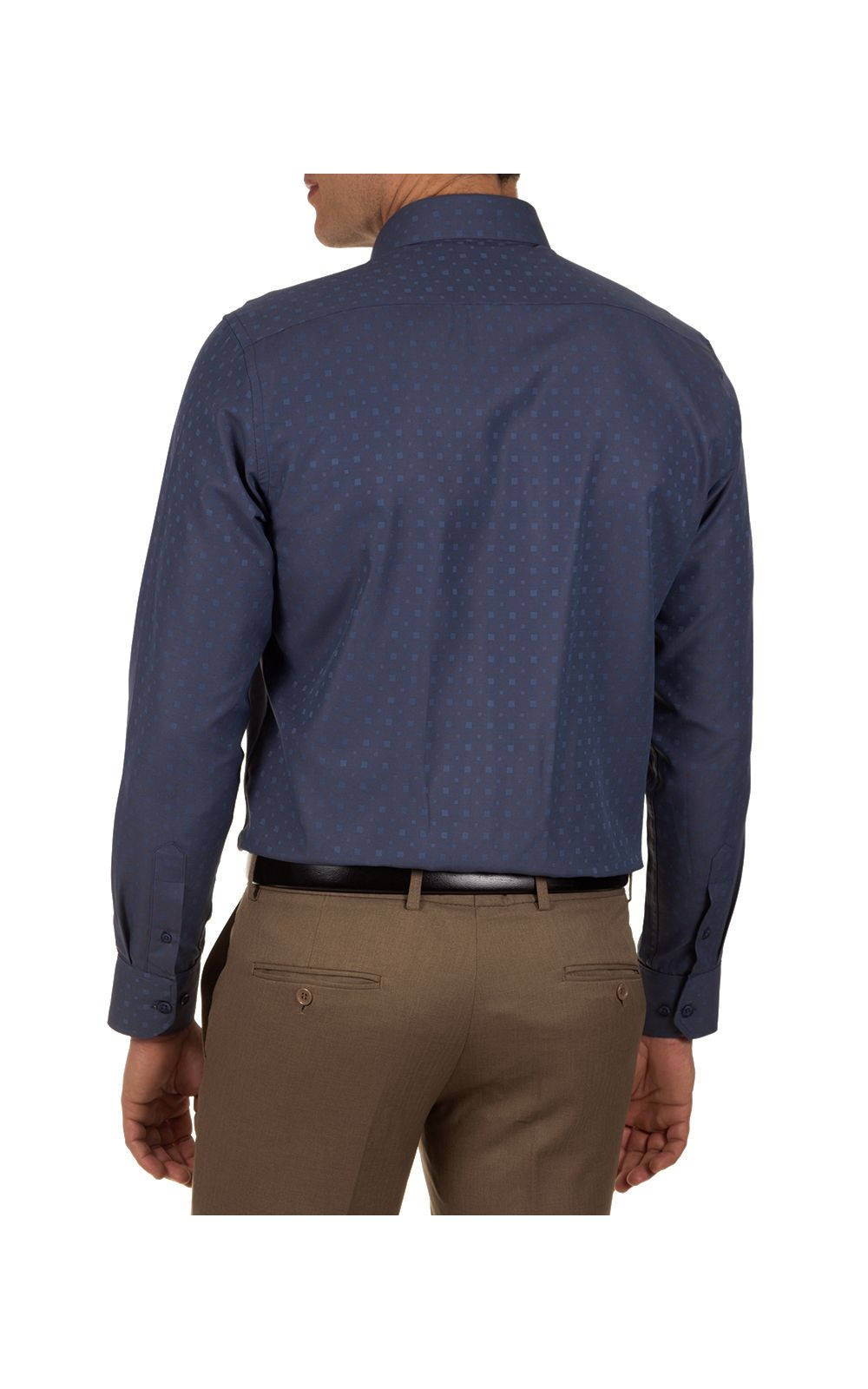 Foto 2 - Camisa Social Masculina Azul Detalhada