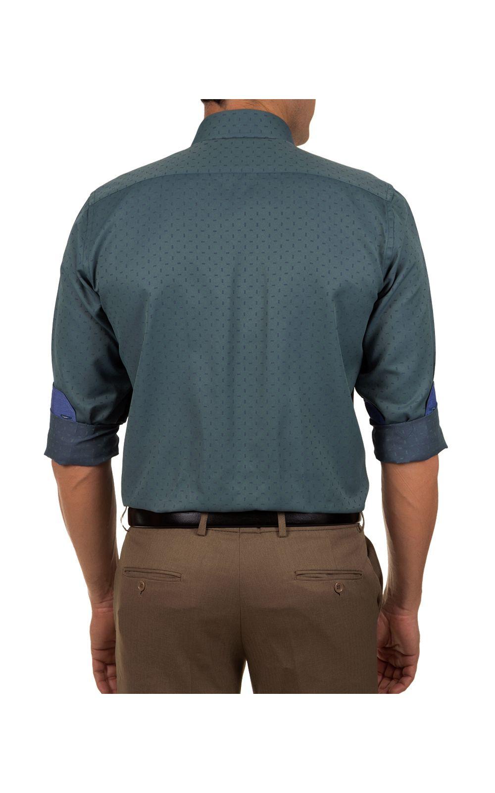 Foto 2 - Camisa Social Masculina Azul Escuro Detalhada