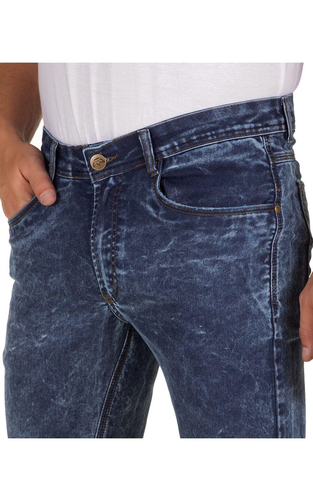 Foto 3 - Calça Jeans Masculina Azul Escuro Texturizada
