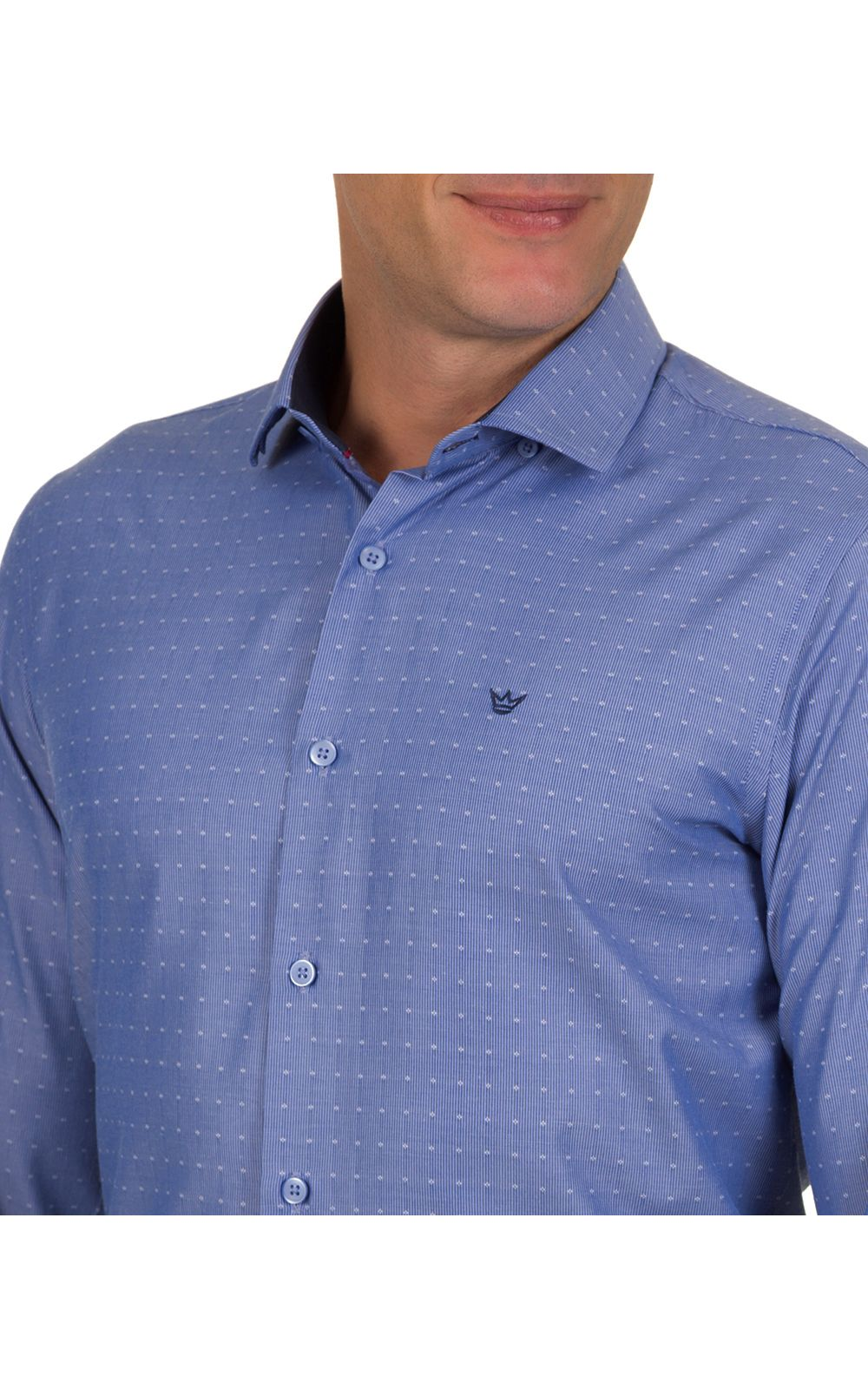 Foto 3 - Camisa Social Masculina Azul Detalhada