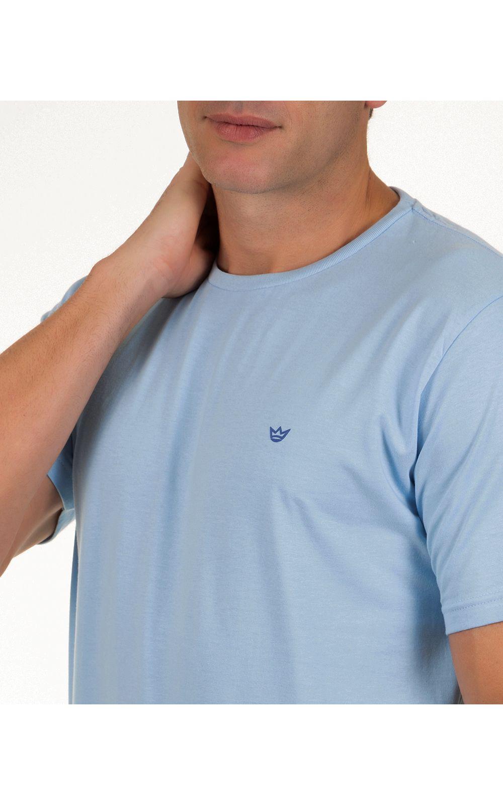 Foto 3 - Camiseta Masculina Azul Claro Lisa