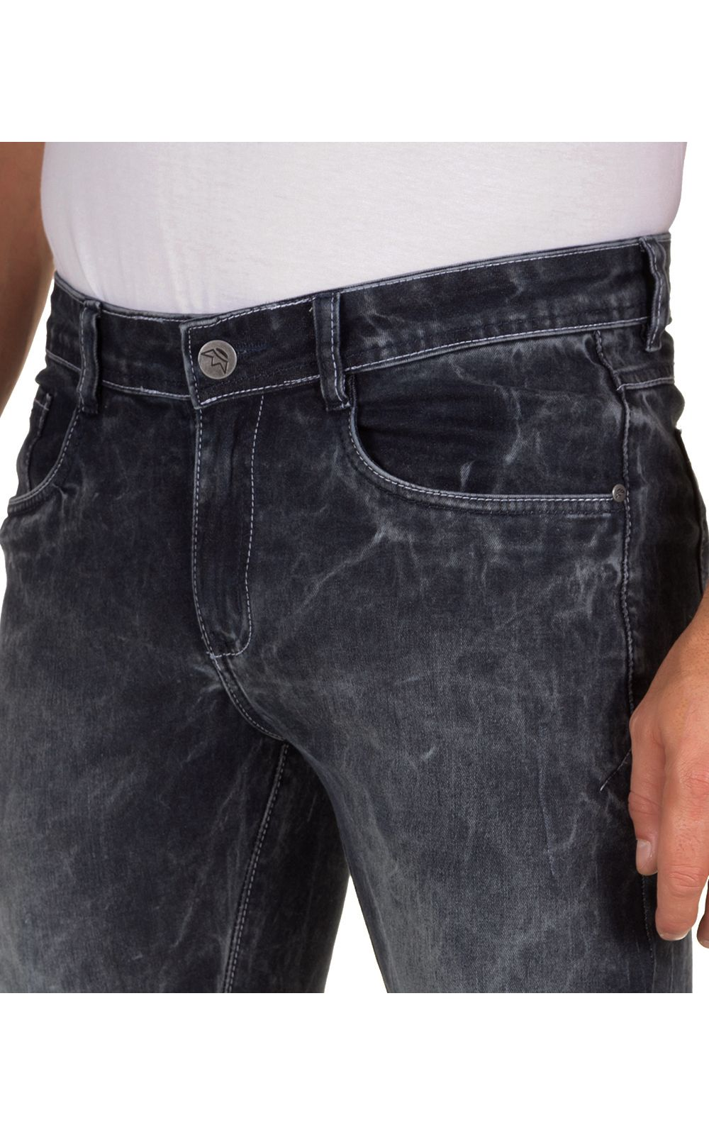 Foto 3 - Calça Jeans Masculina Preta Texturizada