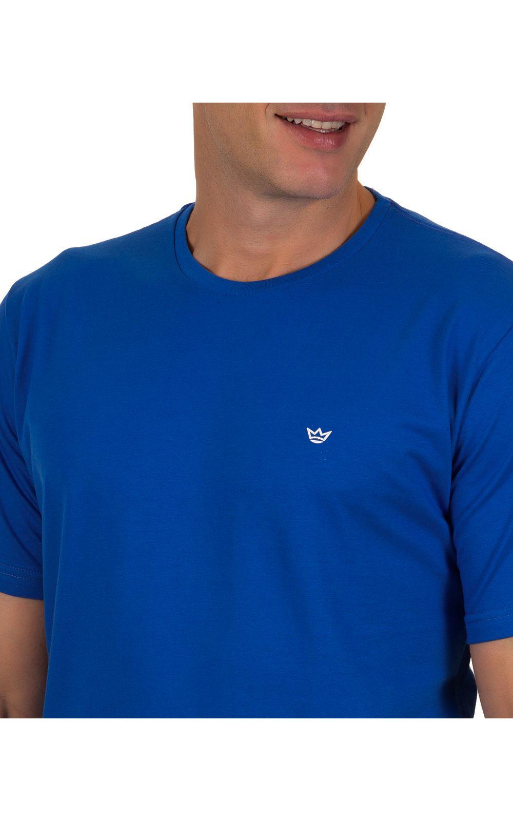 Foto 3 - Camiseta Masculina Azul Escuro Lisa