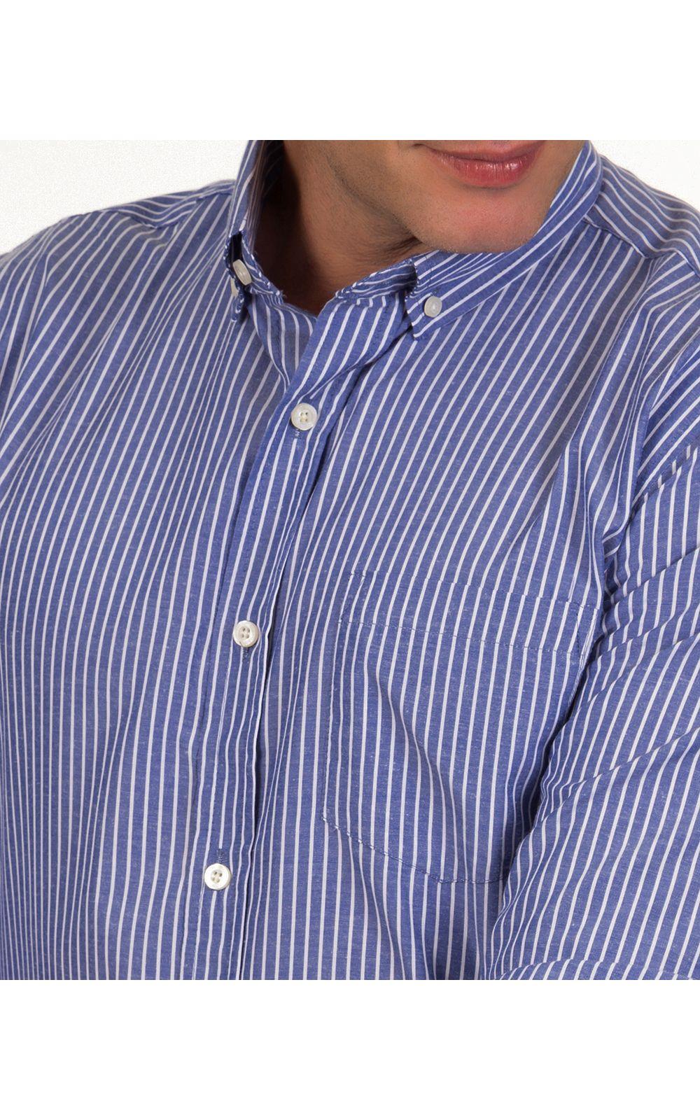 Foto 3 - Camisa Social Masculina Azul Escuro Listrada