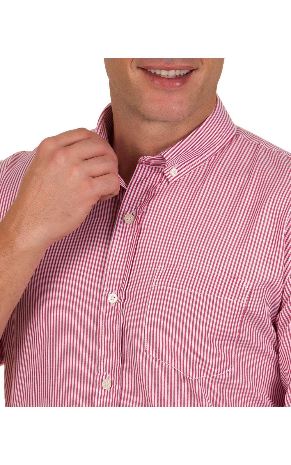 Foto 3 - Camisa Social Masculina Vermelho Listrada
