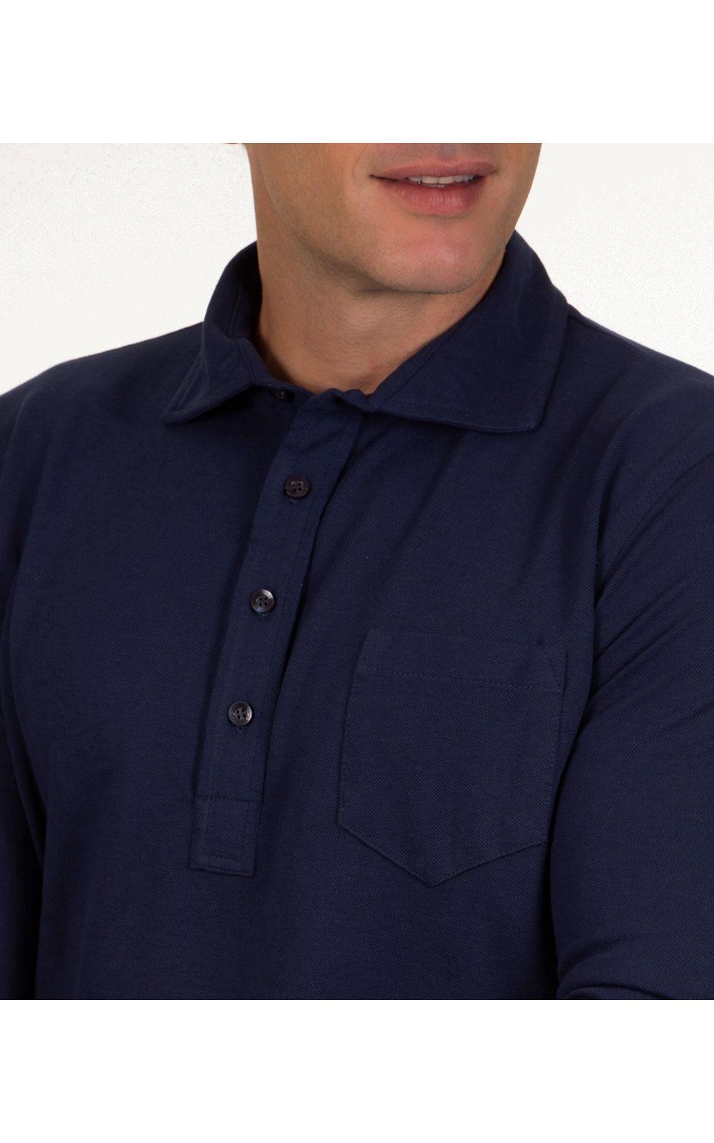 Foto 3 - Camisa Polo Masculina Azul Escuro Lisa