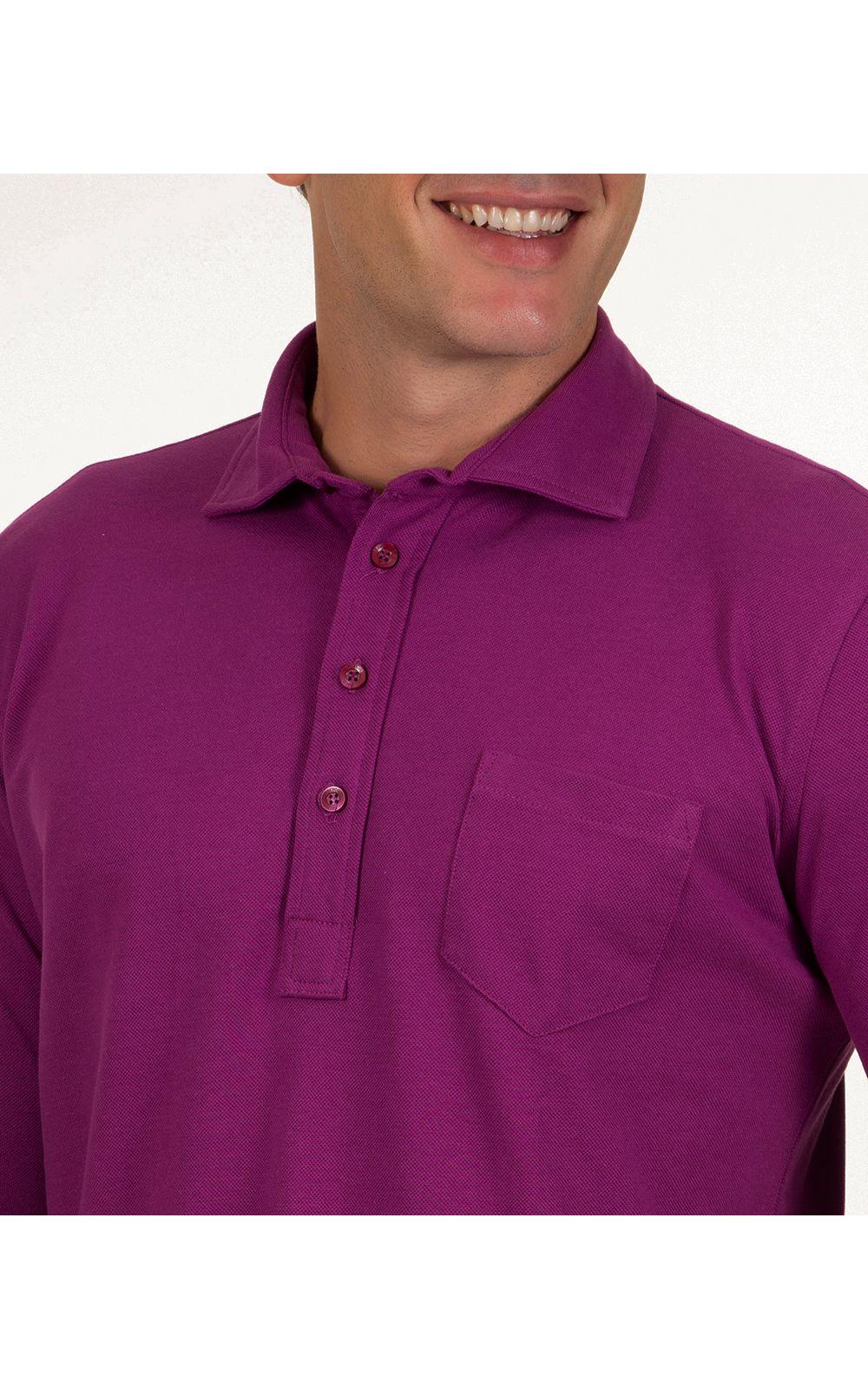 Foto 3 - Camisa Polo Masculina Roxo Lisa