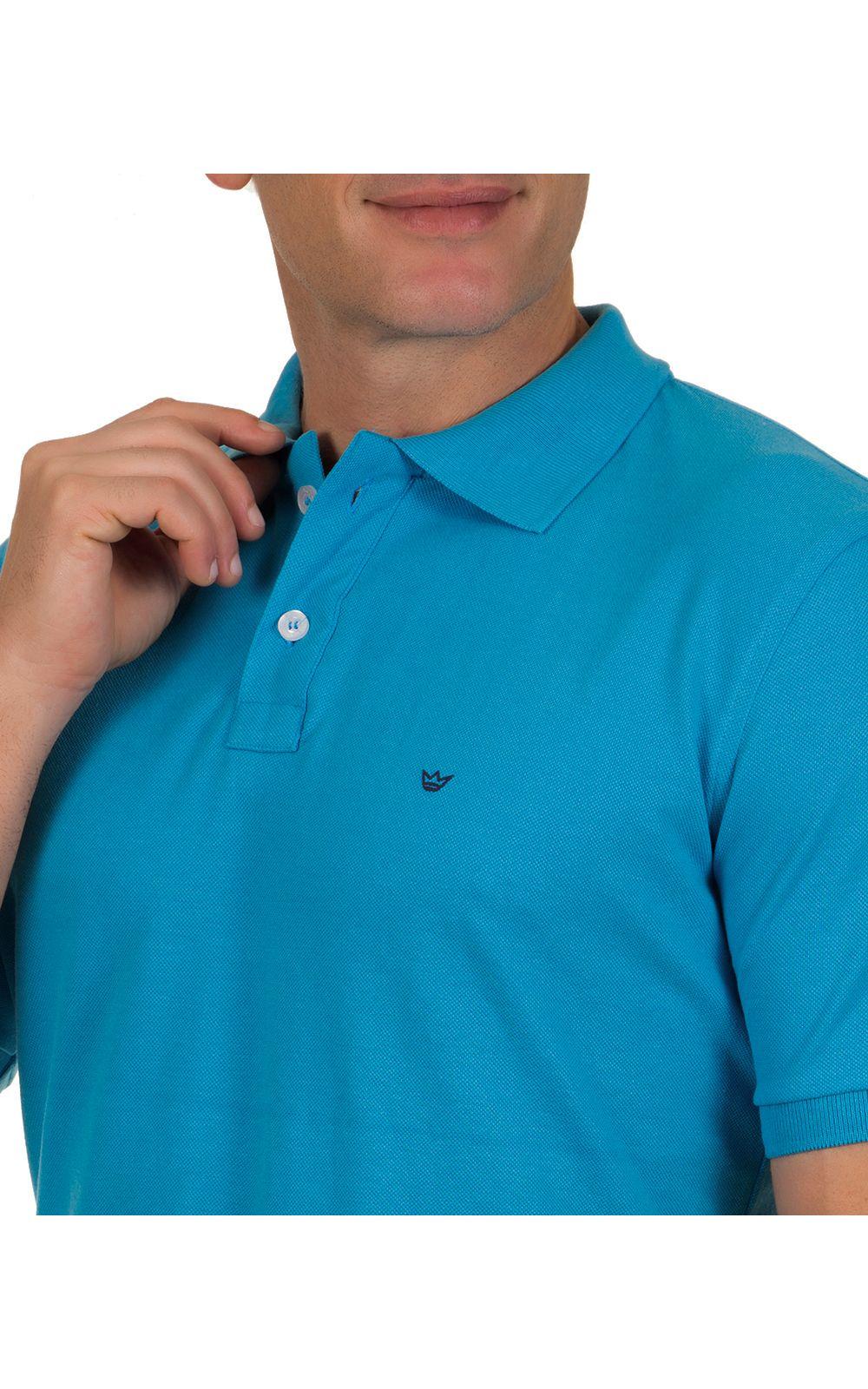 Foto 3 - Camisa Polo Masculina Azul Claro Lisa