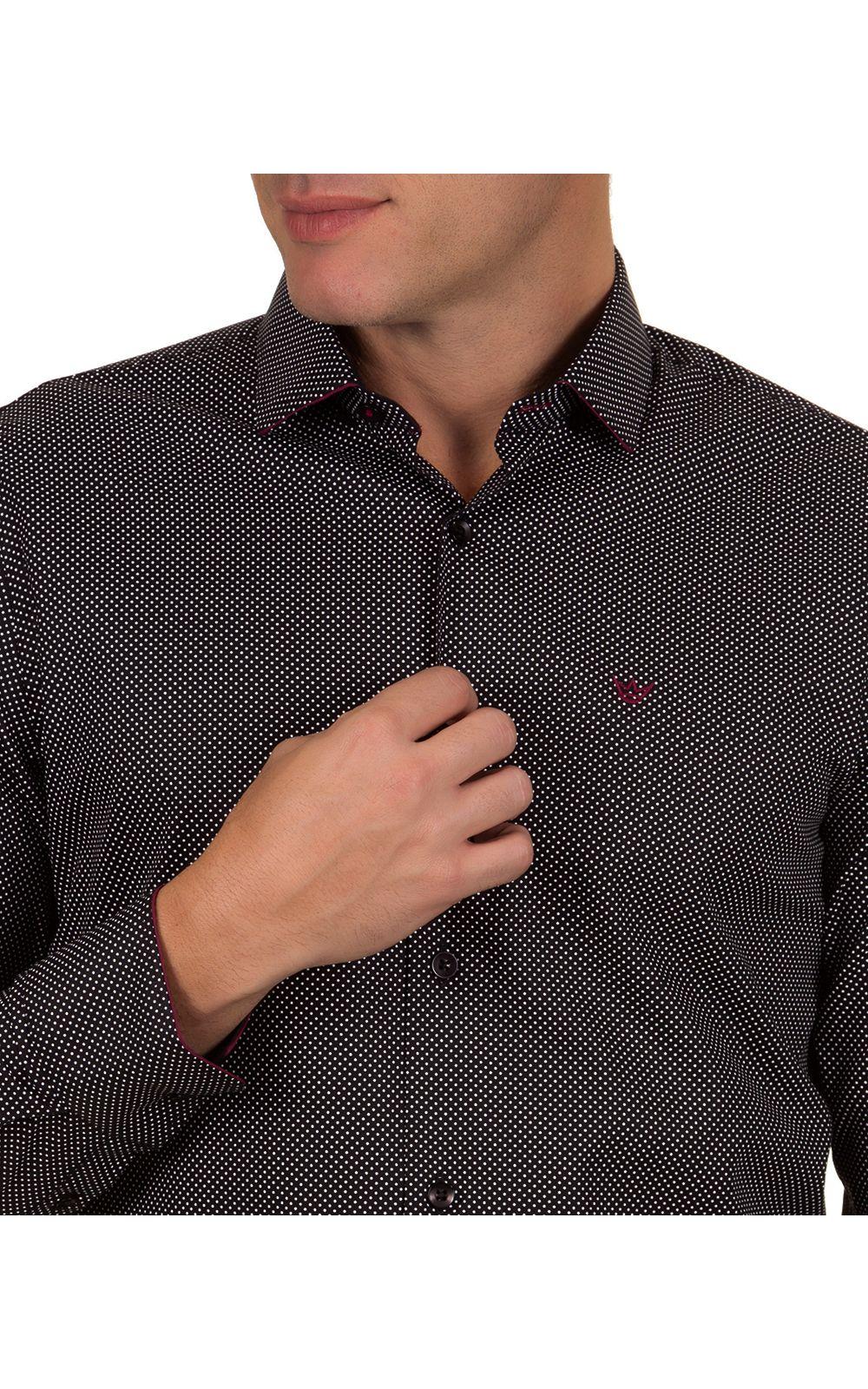 Foto 3 - Camisa Social Masculina Preto Detalhada