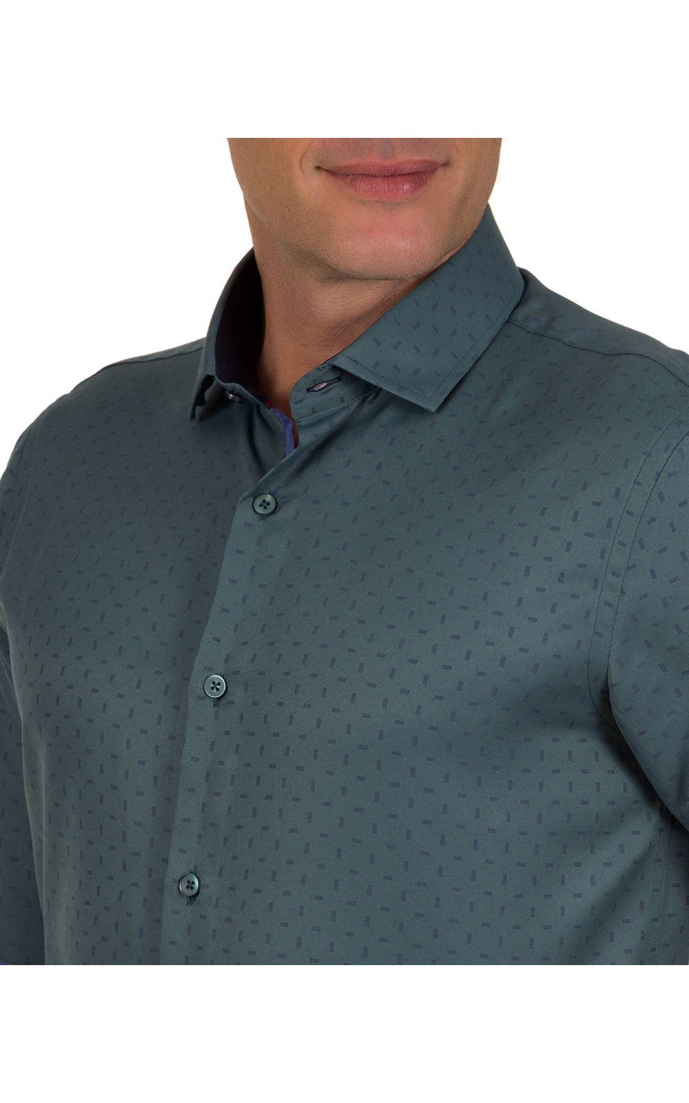 Foto 3 - Camisa Social Masculina Azul Escuro Detalhada