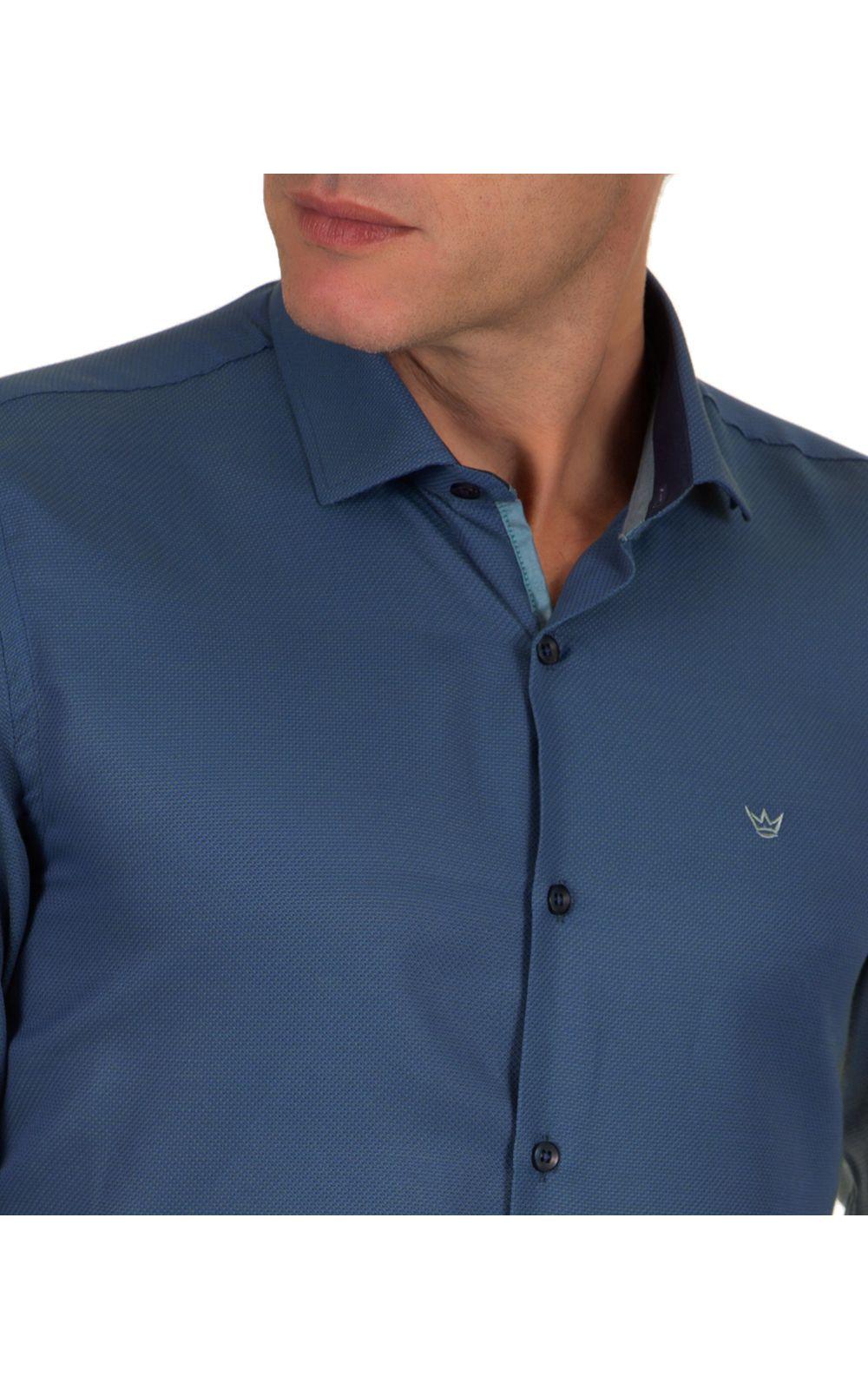 Foto 3 - Camisa Social Masculina Azul Escuro Lisa
