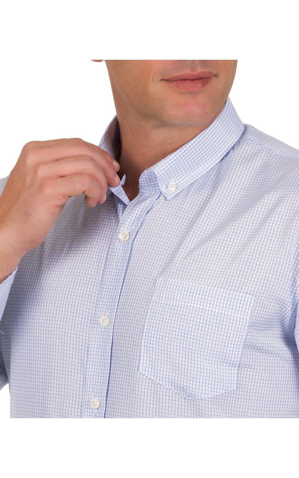 Foto 3 - Camisa Social Masculina Azul Claro Xadrez