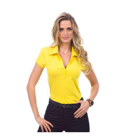 Camisa-Polo-Feminina-Amarela-Lisa-