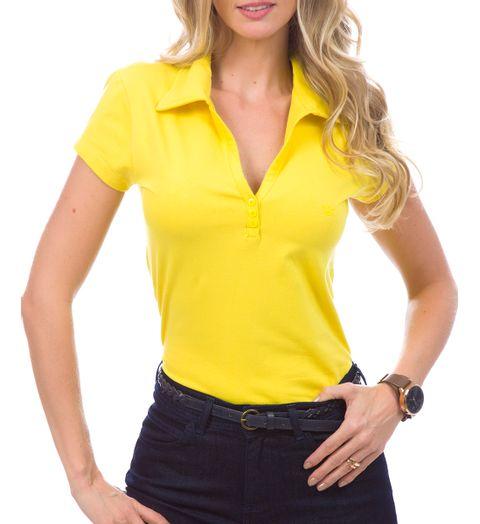 686acb7289 Camisa Polo Feminina Amarela Lisa