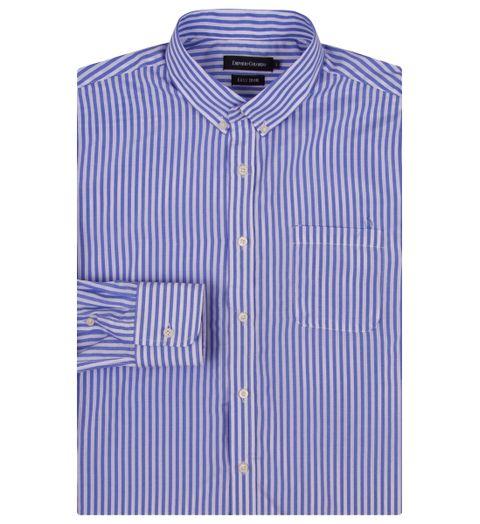 c17ede4a8d Camisa Social Masculina Azul Listrada