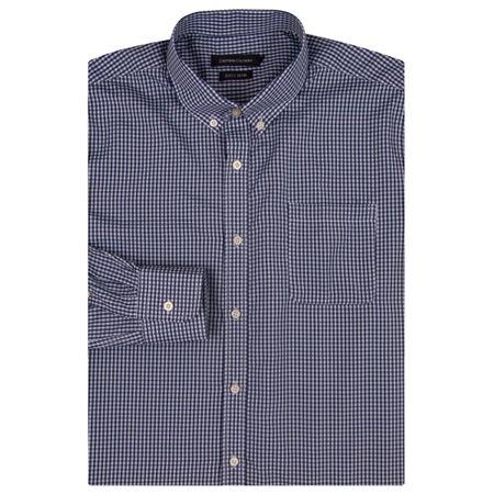 Camisa Social Masculina Azul Marinho Xadrez