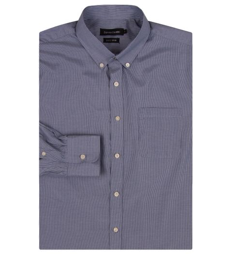adc4a97524 Camisa Social Masculina Azul Marinho Listrada