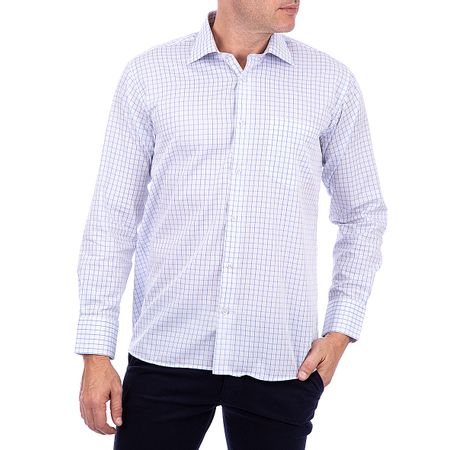 Camisa Social Masculina Azul Quadriculada
