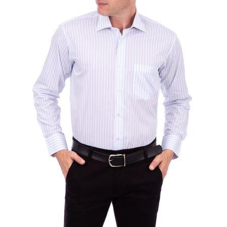 Camisa Social Masculina Branco Listrada