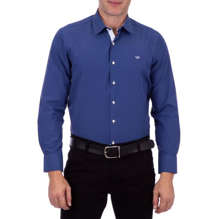 Camisa Social Masculina Azul Lisa Detalhada