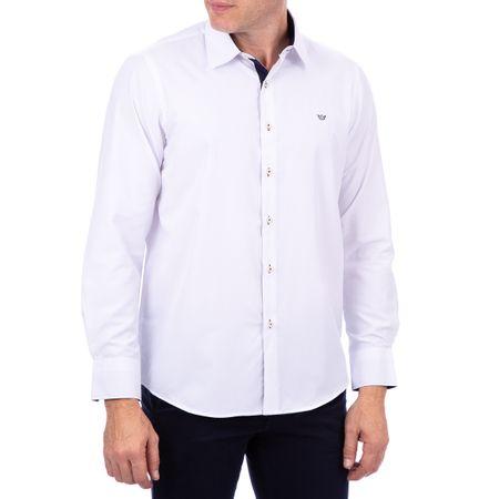 Camisa Social Masculina Branca Lisa Detalhada