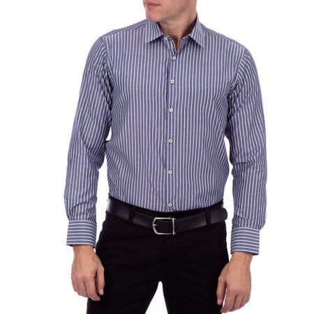 Camisa Social Masculina Cinza Listrada