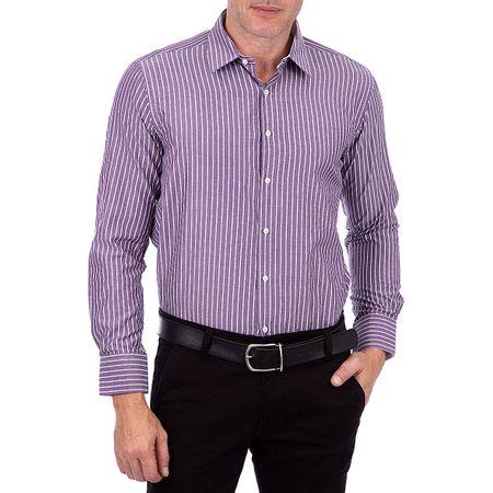 Camisa Social Masculina Roxo Listrada
