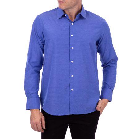 Camisa Social Masculina Azul Maquinetado