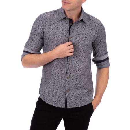 Camisa Masculina Cinza Chumbo Estampada