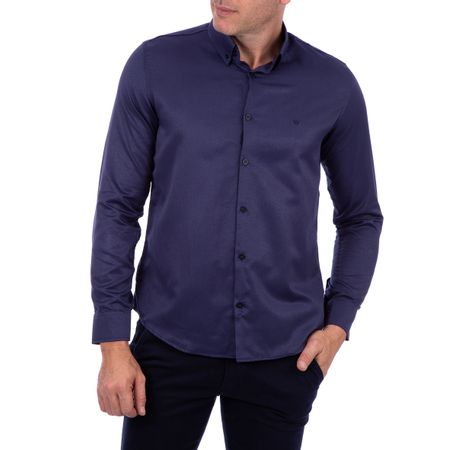 Camisa Social Masculina Azul Marinho Lisa